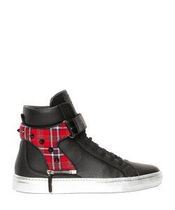 D-S!DE | Croc Plaid Leather High Top Sneakers