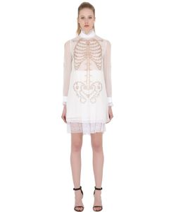 DAGDA | Skeleton Print Techno Chiffon Dress