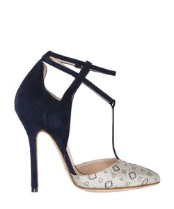 DAMICO MILANO | 120mm Ankara Brocade Suede T-Bar Pumps