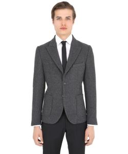 DANIELE ALESSANDRINI GREY | Patchwork Effect Wool Blend Jacket