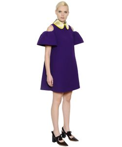 Delpozo | Open Shoulders Flared Wool Crepe Dress