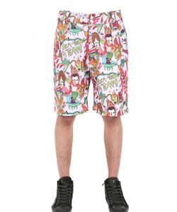 DER METROPOL | Cartoon Printed Techno Canvas Shorts