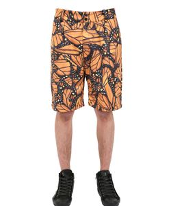 DER METROPOL | Butterfly Printed Techno Canvas Shorts