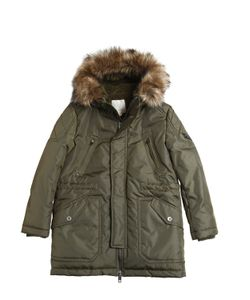 Diesel Kids | Padded Nylon Parka With Faux Fur Trim