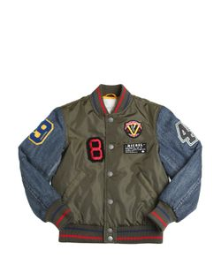 Diesel Kids | Nylon Denim Bomber Jacket With Patches