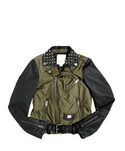 Diesel Kids   Padded Nylon Faux Leather Biker Jacket
