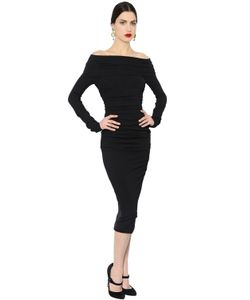 Dolce & Gabbana | Ruched Stretch Wool Crepe Pencil Dress
