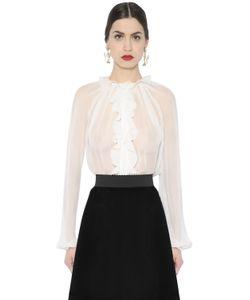 Dolce & Gabbana | Ruffled Sheer Silk Chiffon Shirt