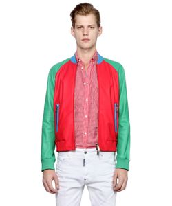 Dsquared2 | Color Block Nappa Leather Bomber Jacket