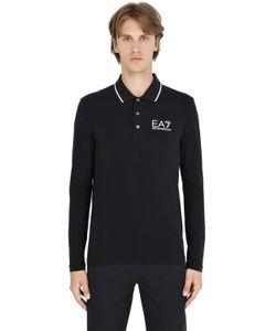 EA7 EMPORIO ARMANI   Logo Cotton Jersey Long Sleeve Polo