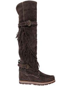 El Vaquero | 70mm Queen Fringed Suede Tall Boots