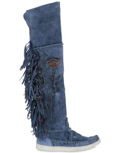 El Vaquero | 20mm Fringed Suede Over The Knee Boots