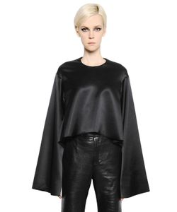 Ellery | Cropped Flared Silk Satin Top