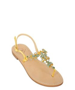 EMANUELA CARUSO | 10mm Embellished Satin Leather Sandals