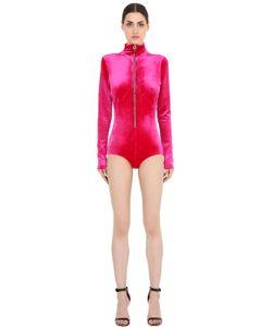 Emiliano Rinaldi | Front Zip Viscose Velvet Bodysuit