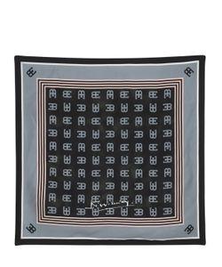 ETTORE BUGATTI COLLECTION   Logo Printed Pure Silk Twill Scarf