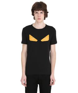 Fendi | Monster Studded Leather Cotton T-Shirt