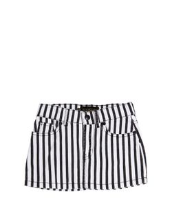 FINGER IN THE NOSE | Striped Stretch Cotton Denim Skirt