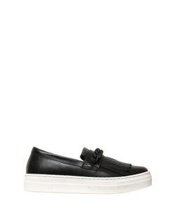 Florens | Chain Fringe Leather Slip-On Sneakers