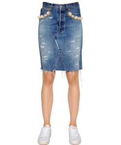 FORTE COUTURE | Embellished Cotton Denim Pencil Skirt
