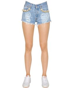 FORTE COUTURE | Embellished Cotton Denim Shorts