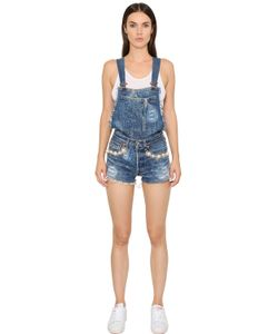 FORTE COUTURE | Embellished Cotton Denim Overalls