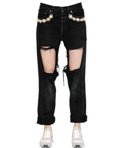 FORTE COUTURE | Embellished Destroyed Cotton Jeans