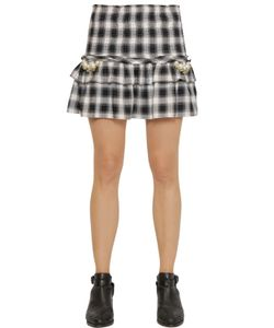 FORTE COUTURE | Elisa Embellished Ruffled Check Skirt
