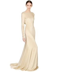 Francesca Piccini | Draped Back Silk Lurex Dress