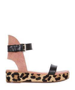FRANCESCO RUSSO   40mm Leather Suede Wedge Sandals