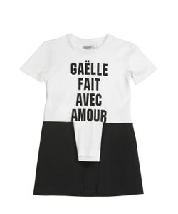 GAELLE PARIS | Logo Printed Cotton Jersey Maxi T-Shirt