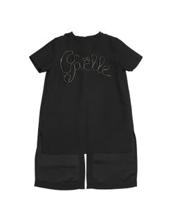 GAELLE PARIS | Embroidered Logo Crepe Maxi Top