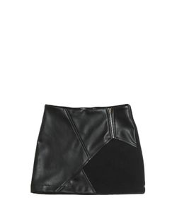 GAELLE PARIS | Felt Faux Leather Mini Skirt