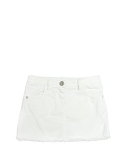 GAELLE PARIS | Distressed Stretch Cotton Denim Skirt