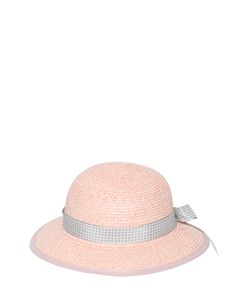 GI'N'GI | Paper Wide Brim Hat With Gingham Hatband