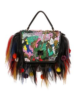 GIANCARLO PETRIGLIA | Queen Fur Embellished Leather Bag