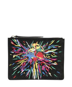 Giuseppe Zanotti Design | Embellished Printed Suede Pouch