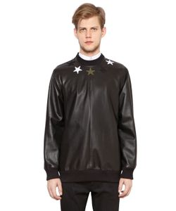 Givenchy | Stars Leather Neoprene Sweatshirt
