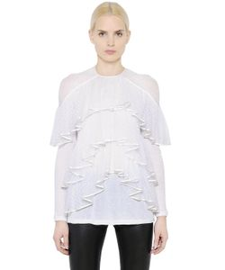 Givenchy | Ruffled Light Cotton Crepe Jersey Top