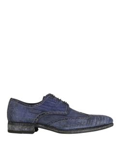 Harris | Stone Washed Crocodile Lace-Up Shoes