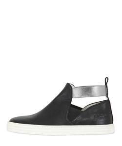 Hogan Rebel | Cutout Leather Slip-On High Top Sneakers