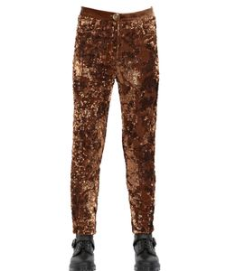 HOUSE OF MATCHING COLOURS | Sequined Viscose Silk Velvet Trousers