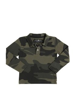 HYDROGEN KID | Camouflage Print Cotton Piqué Polo Shirt