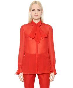 INGIE   Bow Collar Silk Chiffon Shirt