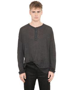 Isabel Benenato   Linen Jersey Henley Long Sleeve T-Shirt