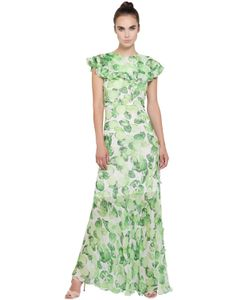 Isolda | Ruffled Lime Printed Silk Chiffon Dress