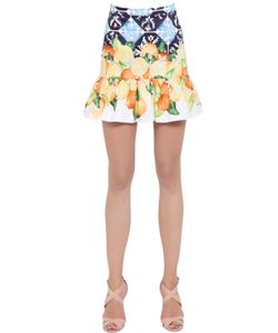 Isolda | Printed Stretch Cotton Satin Skirt