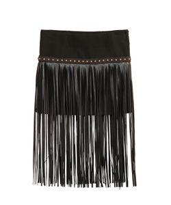 JAKIOO | Neoprene Skirt W/ Faux Leather Fringe