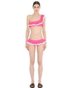 Je M'En Fous   Isabel Ruffled Lycra Bikini With Pompoms