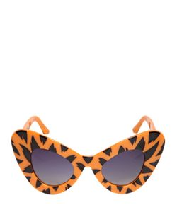 JEREMY SCOTT BY LINDA FARROW | Tiger Printed Acetate Cat Eye Sunglasses